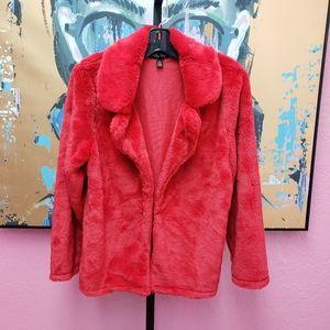 Melissa Paige Red Faux Fur Jacket